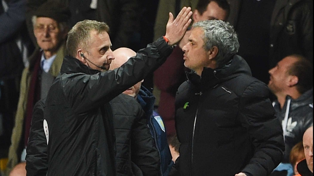 Chelsea boss Jose Mourinho was sent off against Aston Villa
