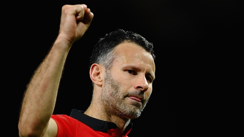 Ryan Giggs reacts at the end of the game