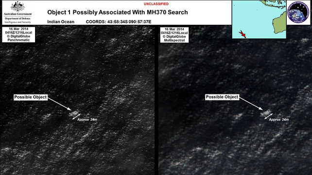 The largest object sighted in the search is 24 metres