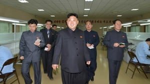 The North Korean Central News Agency released an image showing North Korean leader Kim Jong-un touring a machinery factory at an unknown location