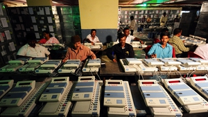 A team of Indian engineers check electronic voting machines in Bangalore ahead of the upcoming general election (Pic: EPA)