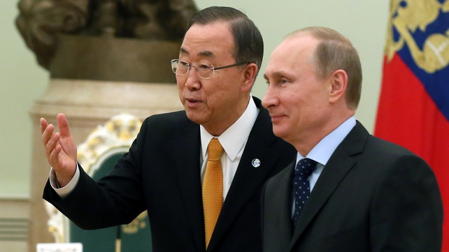 Ban Ki-moon, pictured with Vladimir Putin, is visiting both Russia and Ukraine