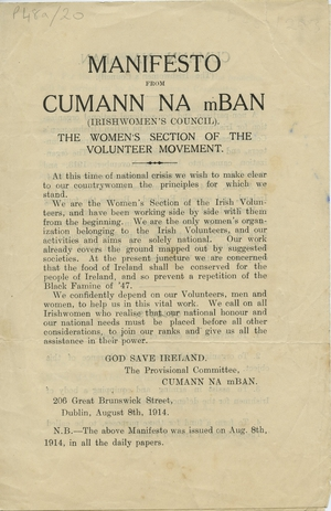 This manifesto from August 1914 sets out the goals of Cumann na mBan (Pic: Mary MacSwiney Papers, UCD Archives)