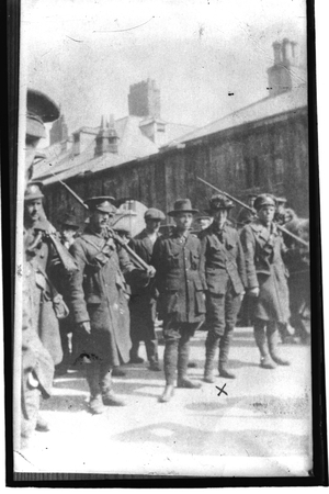 Michael Mallin (centre) and Countess Markievicz (second from right) surrender after the Easter Rising (RTÉ Stills Library)