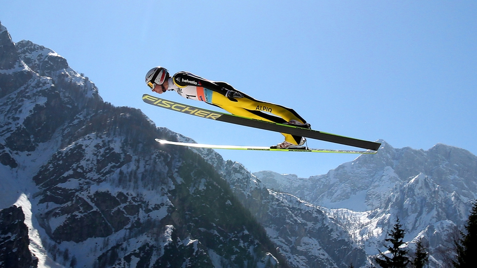 Simon Ammann of Switzerland gets in a practice jump at the Ski Jumping World Cup in Planica, Slovenia (Pic: EPA)