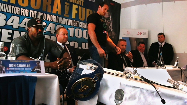 Tyson Fury upended a table before storming out of his press conference