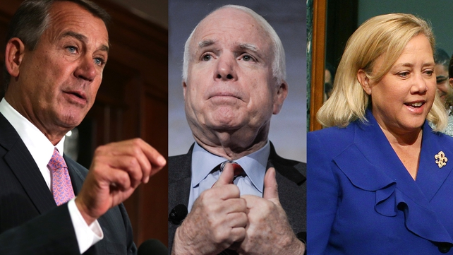 Russia has introduced sanctions on US politicians, John Boehner (L), John McCain (C) and Mary Landrieu (R)