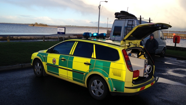 Emergency services at the scene of the search on Lough Ree