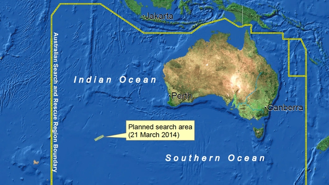 Five aircraft are searching the area southwest of Perth