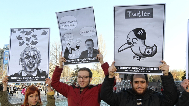 Protesters in Turkey demonstrate against the Twitter ban