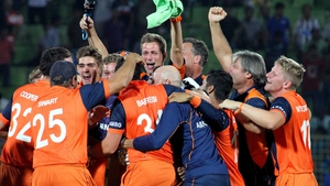 Netherlands players celebrate their stunning victory over Ireland at the Twenty20 World Cup in Bangladesh