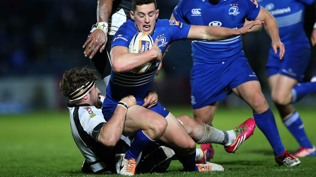 Zebre's Filippo Ferrarini can't stop Noel Reid going over for Leinster's first try
