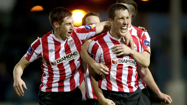 Derry's Cliff Byrne celebrates after equalising against Drogheda