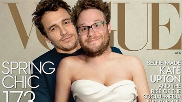 James Franco and Seth Rogen recreate Kim and Kanye's Vogue cover