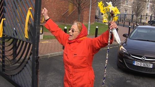 Peace activist Margaretta D'Arcy leaving the prison