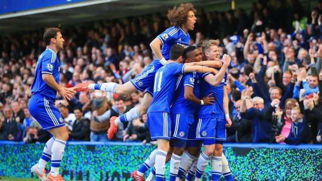 Chelsea celebrate Andre Schurrle's goal