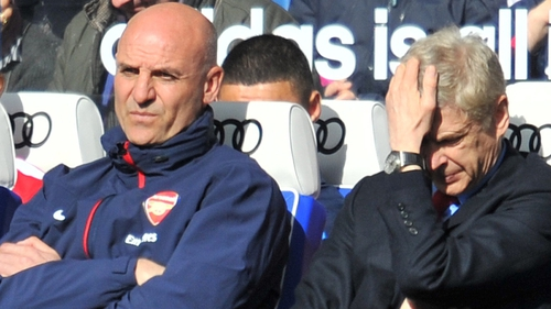Misery written on the faces of Steve Bould and Arsene Wenger