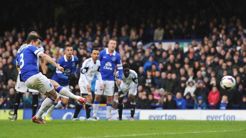 Leighton Baines scores from the spot