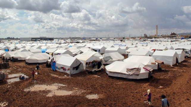 The Bab al-Salam refugee camp in the countryside of Aleppo near the Syria-Turkey border