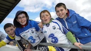 Waterford fans Nathan Monaghan, Alex Shanahan, James O'Calaghan and Paul Sheehan at their team's game against kilkenny