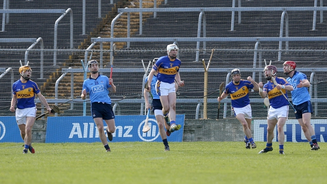 Tipperary hurlers show their delight at winning a free in the closing stages of their game with Dublin in Thurles