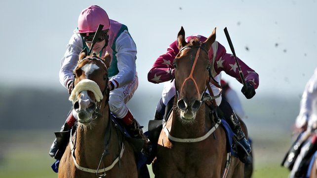 Pat Smullen on Vote Often, left, holds off Daniel Tudhope on Odeliz to win the Lodge Park Stud European Breeders Fund Park Express Stakes