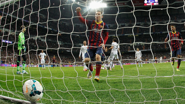 Hat-trick hero Lionel Messi slots home a penalty for Barca