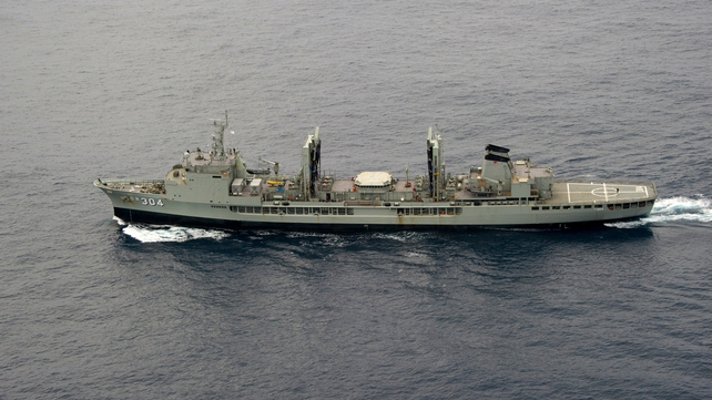 The Australian HMAS Success vessel enroute to the search area in the southern Indian Ocean over the weekend (Pic: EPA)