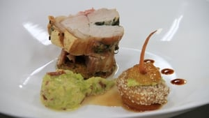 Roast loin of pork, sweet potato and red onion rosti, creamed cabbage and pancetta, confit apple and almond