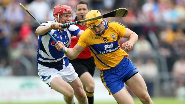 Clare's John Conlon and Joe Fitzpatrick of Laois in action last summer