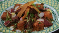 Mexican Seared Beef on Peanut & Tequila Sauce, Sweet Potatoes - Brenda Carroll's signature dish from Heat 4 of MasterChef 2014