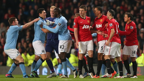 The Manchester derby kicks-off at 7.45pm at Old Trafford