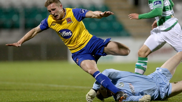 John Mountney is brought down for Dundalk's opening goal