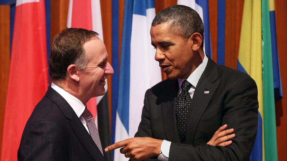 US President Barack Obama chats with New Zealand Prime Minister John Key at the Nuclear Security Summit in The Hague (Pic: EPA)