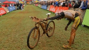 Kristian Hynek recovers after winning Stage 2 of the annual ABSA Cape Epic mountain bike stage race in Cape Town, South Africa (Pic: EPA)
