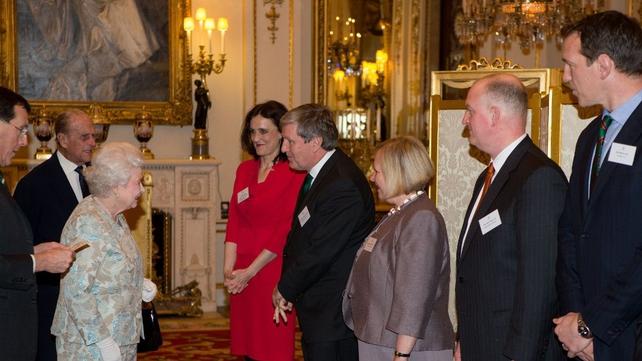 Queen Elizabeth meets Irish Ambassador Dan Mulhall (4th right) at the reception