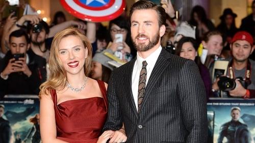 Chris Evans with his Captain America co-star Scarlett Johansson