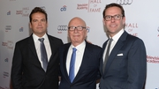 James Murdoch (right) and brother Lachlan with their father Rupert Murdoch