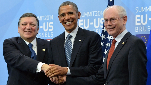 Barack Obama said Russia had 'miscalculated' in thinking it could drive a 'wedge' between the US and the EU (Pic: EPA)