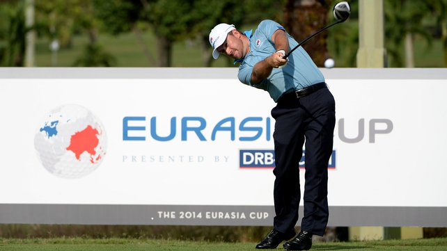 Graeme McDowell gets into the swing of things ahead of the EurAsia Cup