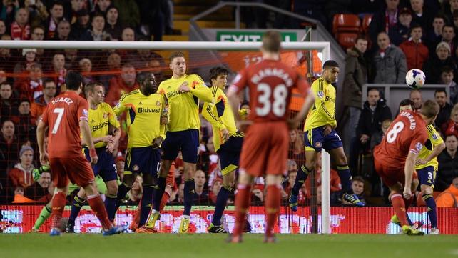 Steven Gerrard curls in Liverpool's opener
