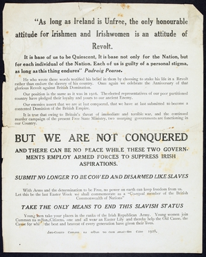 An advertisement from 1928, calling on men to join the IRA and women to join Cumann na mBan (Courtesy of the National Library of Ireland)