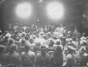 Cumann figures Countess Markievicz, Kathleen Clarke and Áine Ceannt at an event - possibly a CnamB meeting (Pic: Sighle Humphreys Archive)