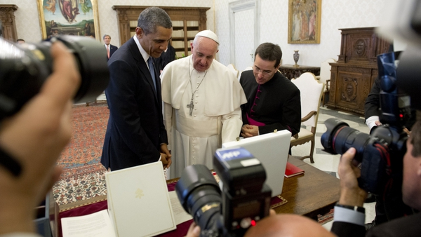 Barack Obama and Pope Francis exchanged gifts following their 50-minute meeting