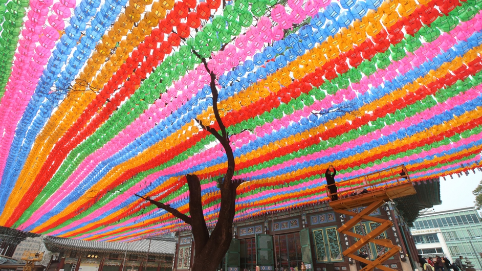 Lotus lanterns are installed at Jogye Temple in Seoul, South Korea (Pic: EPA)