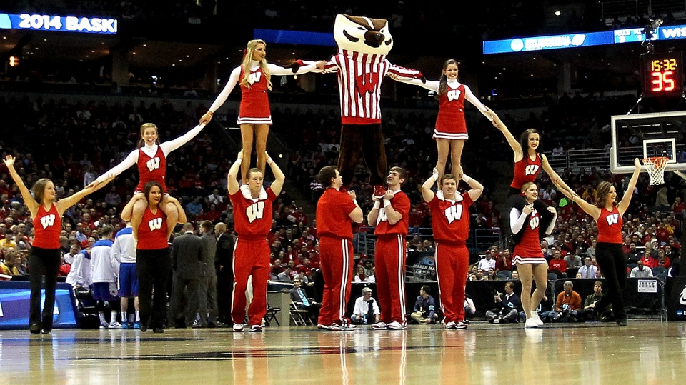 Wisconsin Badgers mascot Bucky Badger performs with cheerleaders in Milwaukee