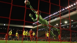 Vito Mannone of Sunderland is unable to stop Steven Gerrard of Liverpool scoring during the Reds' 2-1 Premier League win at Anfield