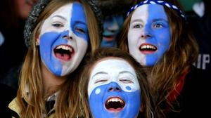 Sligo Grammar supporters cheer on their team at the Connacht Schools Senior Cup final