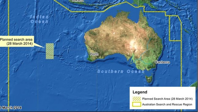 A handout image shows the new search area in the Indian Ocean, west of Perth