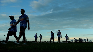 Players walk off the field during a Gold Coast Titans NRL training session at Tugun Rugby League Field